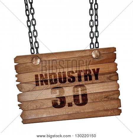 industry 3.0, 3D rendering, wooden board on a grunge chain