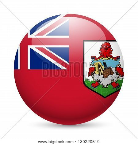 Flag of Bermuda as round glossy icon. Button with flag design