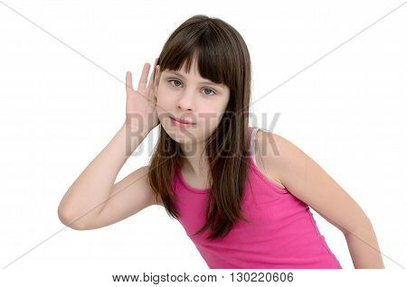 Girl Listens Isolated On A White Background
