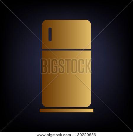 Refrigerator sign. Golden style icon on dark blue background.