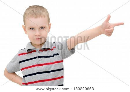 Angry Little Boy Shows A Finger On A White Background
