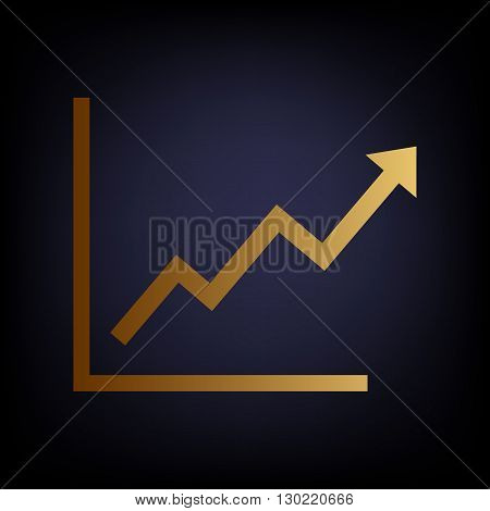 Growing bars graphic sign. Golden style icon on dark blue background.