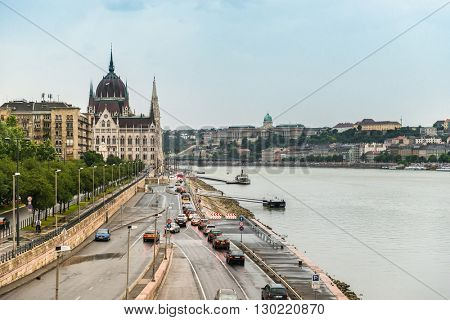 BUDAPEST, HUNGARY- JULY 07: majestic view of The National Hungarian Parliament building  in July 07 in 2015 Budapest, Hungary