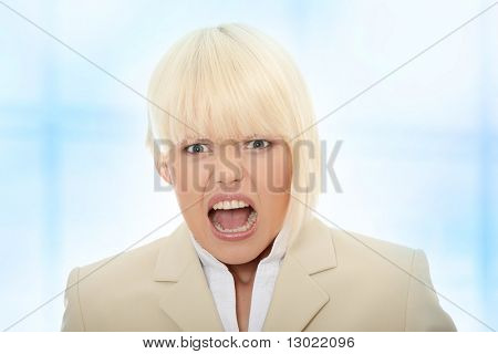 Young business woman shouting, Over abstract blue background