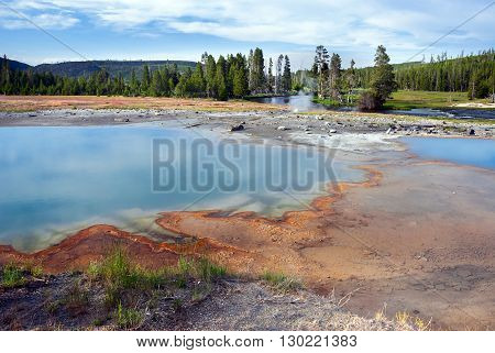Black Opal Pool and Little Firehole River of the Biscuit Basin Yellowstone National Park