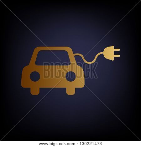 Eco electric car sign. Golden style icon on dark blue background.