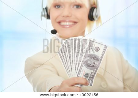 Business Woman with Headset Dollar.Über blau abstrakt