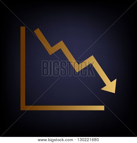 Arrow pointing downwards showing crisis. Golden style icon on dark blue background.