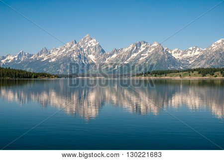 View of the Teton Range from the Jackson Lake Grand Teton National Park