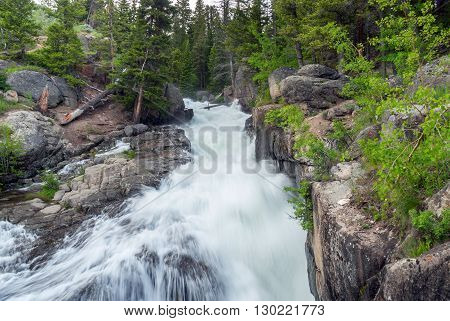 Cascading water of Lake Creek Falls in Wyoming