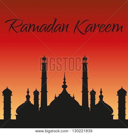 Ramadan Kareem greeting card. Silhouette of mosque
