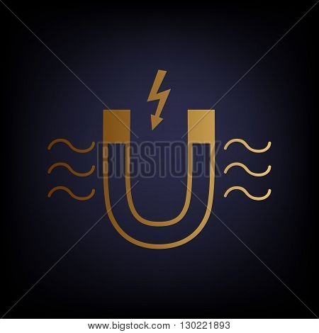 Icon of magnet with magnetic force indication. Golden style icon on dark blue background.