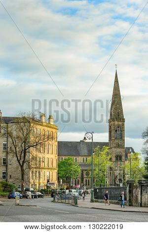 GLASGOW SCOTLAND - MAY 16 2016: Junction of Queen Margaret Drive Byers Road and Great Western Road in the west end of Glasgow.