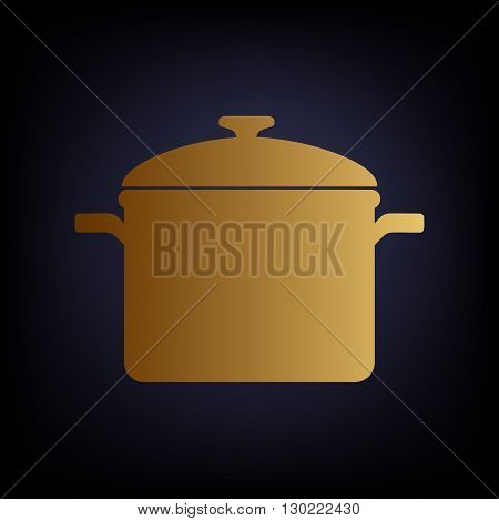 Cooking pan sign. Golden style icon on dark blue background.