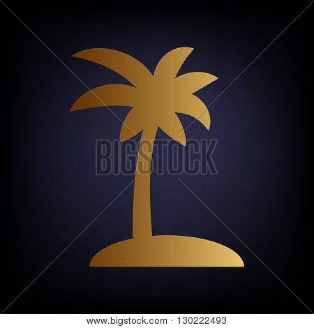 Coconut palm tree sign. Golden style icon on dark blue background.