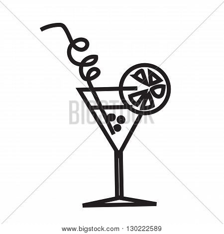 Simple symbol cocktail. Cocktail in line style. Black and white cocktail icon. Art Line  with a straw and a slice of lemon