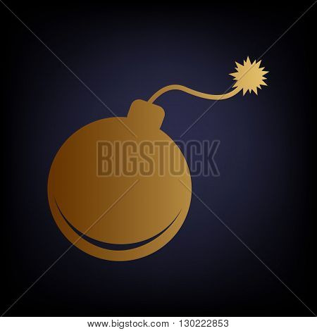 Bomb sign. Golden style icon on dark blue background.
