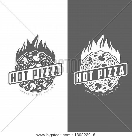 Logos pizza, fast food, monochrome badges pizza, pizza with mushrooms, salami, in the oven, slice of pizza with peppers, hot Italian fast food, labels for food products, cafe, restaurant