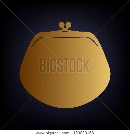 Purse sign. Golden style icon on dark blue background.