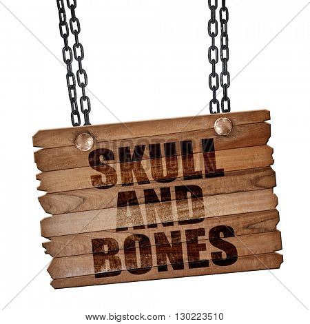skull and bones, 3D rendering, wooden board on a grunge chain
