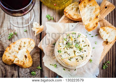 Baked Camembert With Toasts And Thyme