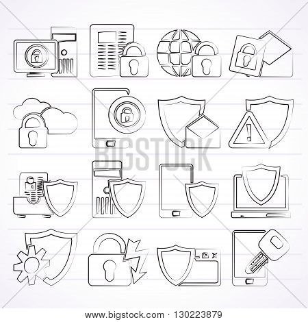 Data and Information Protection Security Icons  - vector icon set