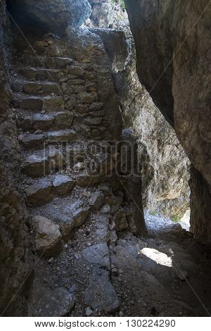 Natural Stone Steps In A Crevice In The Canyon