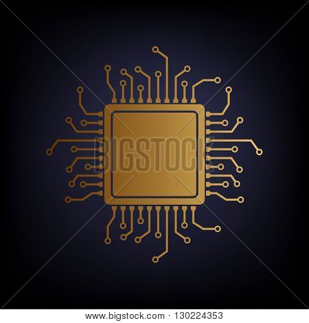CPU Microprocessor. Golden style icon on dark blue background.