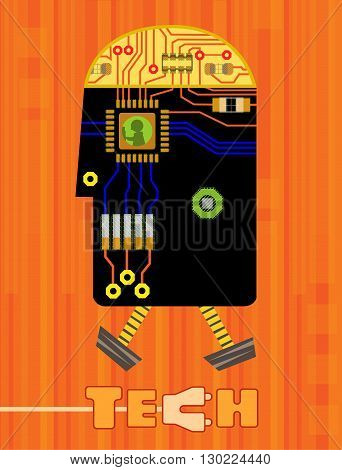 Stylized technology gadget robot shaped made from printed circuit board elements, and the word tech at the bottom. Eps10