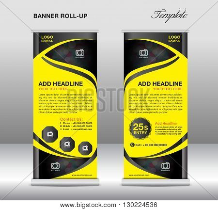 Roll up banner stand template, stand design,banner template,yellow banner, advertisement,flyer template,vector illustration,trade design,Yellow Roll up design