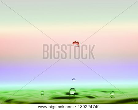 water drops and waves afloat on blur background