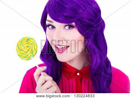 Portrait Of Beautiful Woman With Purple Hair Wig Holding Colorful Lollipop Isolated On White