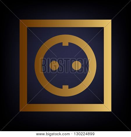 Electrical socket sign. Golden style icon on dark blue background.