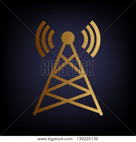 Antenna sign. Golden style icon on dark blue background.