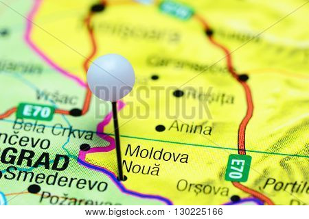 Moldova Noua pinned on a map of Romania