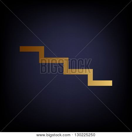 Stair down sign. Golden style icon on dark blue background.