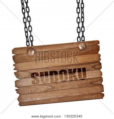 Sudoku, 3D rendering, wooden board on a grunge chain