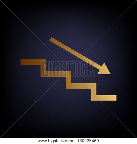 Stair down with arrow. Golden style icon on dark blue background.