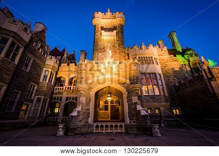 Casa Loma At Night, In Midtown Toronto, Ontario.