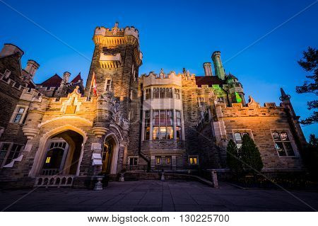 Casa Loma At Twilight, In Midtown Toronto, Ontario.