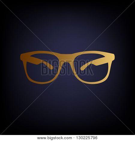 Sunglasses sign. Golden style icon on dark blue background.