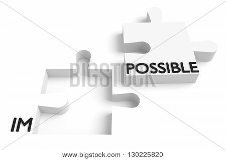 Puzzle piece impossible or possible white, 3d illustration