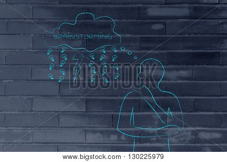 Man With Lightning Bolt And Rain Of Ideas Out Of Thought Bubble