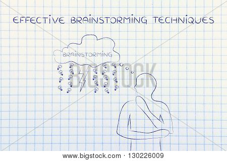 Lightning Bolt & Rain Of Ideas On Thought Bubble, Effective Brainstorming Techniques