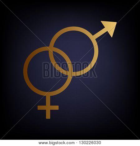 Sex symbol sign. Golden style icon on dark blue background.