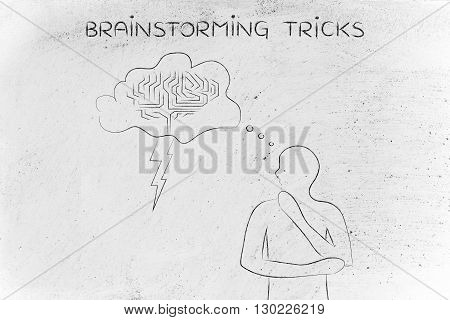 Man With Stormy Brain Thought Bubble, Brainstorming Tricks