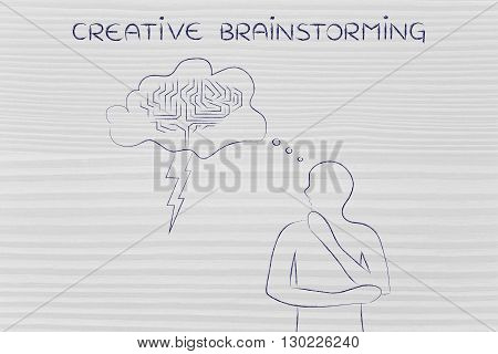 Man With Stormy Brain Thought Bubble, Creative Brainstorming