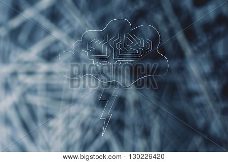 Stormy Cloud With Brain And Bolt, Concept Of Brainstorming