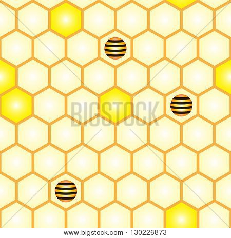 Simple geometric background. Abstract seamless pattern of comb and stylized bees. Suitable for printing fabrics textiles and web.