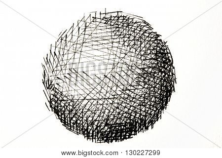 Photo of a Ink drawing or ink pen line drawing of a sphere. A sphere drawing consisting of black ink lines. Isolated on white.